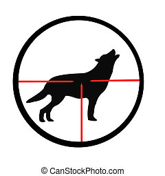 Wolf in optical sight - Silhouette of the wolf through...