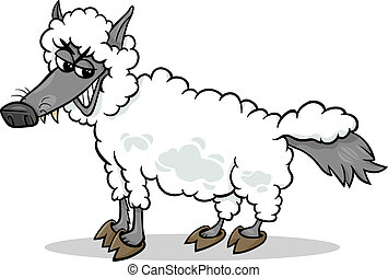Cartoon Humor Concept Illustration of Wolf in Sheep Clothing Saying or Proverb