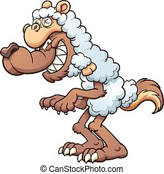 Wolf in sheeps' clothing - A cartoon wolf in sheep's...