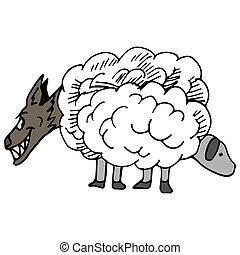 Wolf In Sheep's Clothing - An image of a wolf in sheep's...