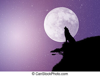 wolf in th moonlight - illustration of wolf in th moonlight