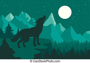 Wolf in the night coniferous forest near the mountains under moon. Vector