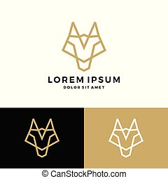 wolf line logo vector