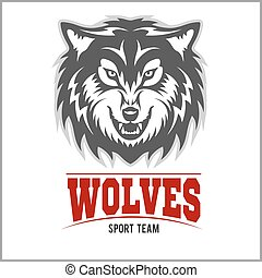 Wolf logo for a sport team isolated on white background