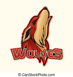 wolf, logo, kleurrijke