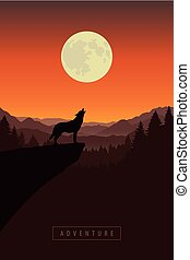 wolf, maan, landscape, natuur, volle, bos, howls, klip