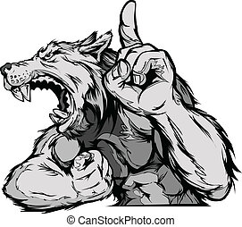 Cartoon Vector Mascot Image of a Wolf or Coyote Flexing Arms and Holding up Champion Finger