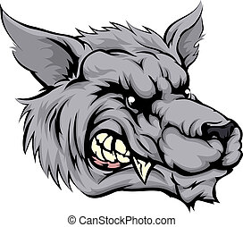 Wolf mascot character - An illustration of a fierce wolf...