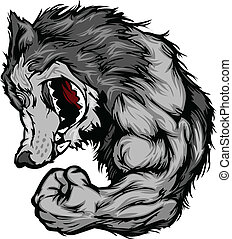 Cartoon Image of a Wolf Mascot Growling and Flexing Arm