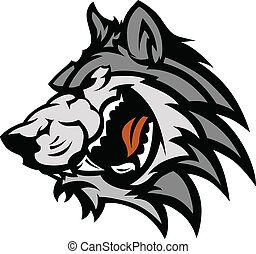 Graphic Team Mascot Image of a Wolf Head