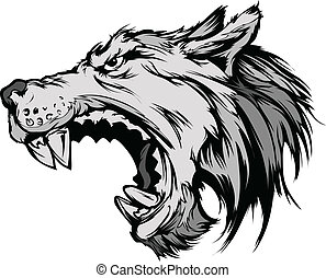 Wolf Mascot Head Vector Cartoon - Cartoon Vector Mascot ...