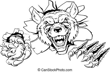 An illustration of a tough looking wolf animal sports mascot or character breaking through