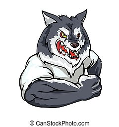 Wolf mascot, team label design. - Wolf mascot, team label...