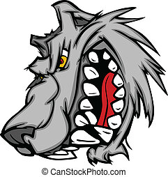 Wolf Mascot Vector Cartoon with Sna - Cartoon Vector Image...