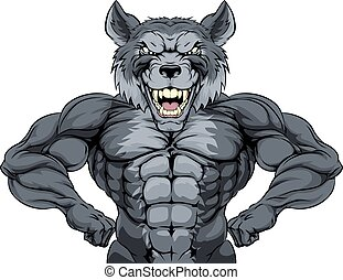 Wolf Mascot - Wolf animal mascot showing off his muscles and...