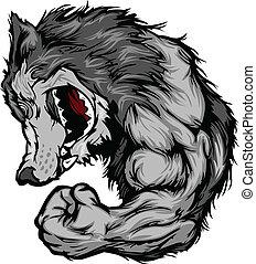 wolf, maskottchen, biegen, arm, karikatur