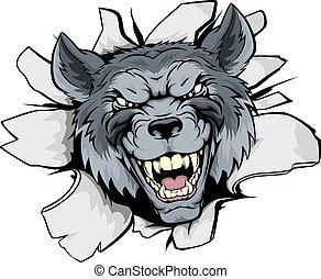 wolf, maskottchen, brechen, heraus