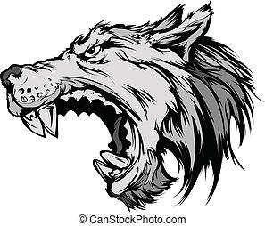 wolf, maskottchen, kopf, vektor, karikatur
