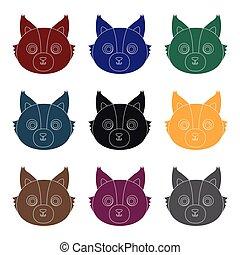 Wolf muzzle icon in black style isolated on white background. Animal muzzle symbol stock vector illustration.