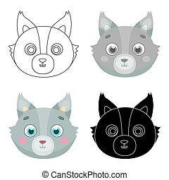 Wolf muzzle icon in cartoon style isolated on white background. Animal muzzle symbol stock vector illustration.