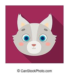 Wolf muzzle icon in flat style isolated on white background. Animal muzzle symbol stock vector illustration.