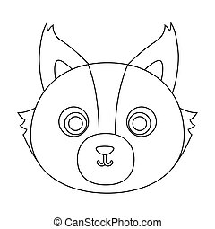 Wolf muzzle icon in outline style isolated on white background. Animal muzzle symbol stock vector illustration.