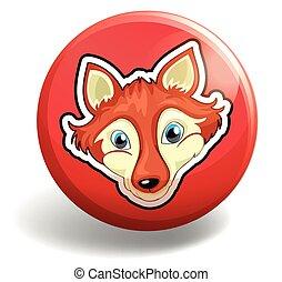 Wolf on round badge