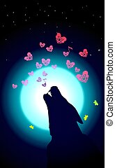 Wolf or Dog is howling to the neon moon. Vector illustration of wild love. Bones song and Small pink hearts on Valentines Day or Halloween. Night composition.