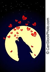 Wolf or Dog is howling to the yellow moon. Vector illustration of wild love. Bones song and Small Red hearts on Valentines Day or Halloween. Night composition.