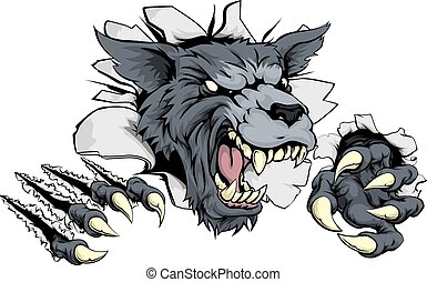 A scary wolf mascot ripping through the background with sharp claws