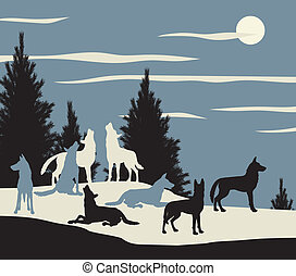 Editable vector illustration of a wolf pack howling at the moon