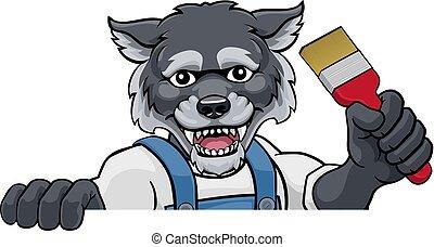Wolf Painter Decorator Holding Paintbrush