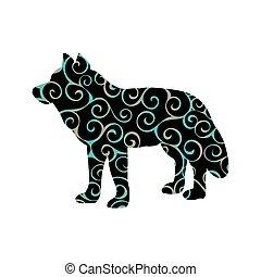 Wolf predator color silhouette animal