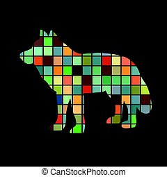 Wolf predator color silhouette animal