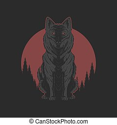 Wolf red moon illutration