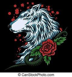 wolf rose vector illustration
