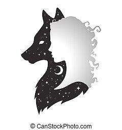 wolf, schattenfrau, silhouette