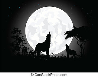 wolf scream silhouette - vector illustration of beauty Wolf...