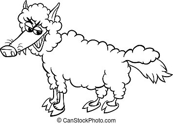 wolf sheep clothing coloring page - Black and White Cartoon...