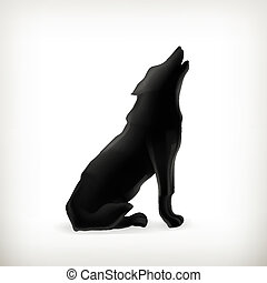 wolf, silhouette, vector