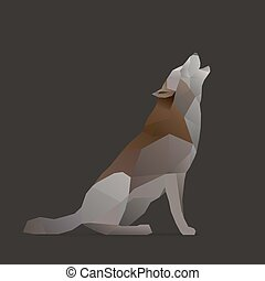 wolk sings, howls. polygon illustration, isolated