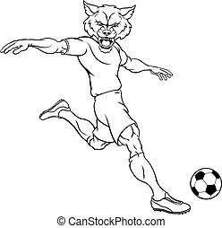 Wolf Soccer Football Player Animal Sports Mascot