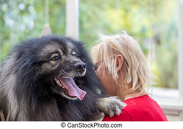 Wolf Spitz Dog with paw on groomer woman shoulder.