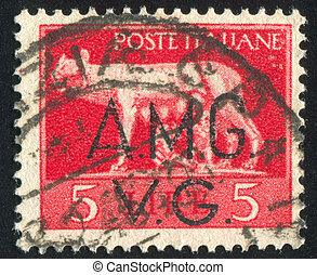 Wolf Suckling Romulus and Remus - ITALY - CIRCA 1945: stamp...