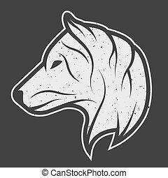 Wolf symbol logo for dark background.