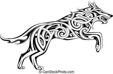 Wolf tattoo Celtic style
