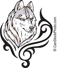 Tattoo with wolf head. Color vector illustration.