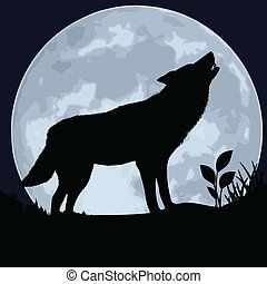 Wolf - The black silhouette of a wolf on a background of the...