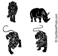 Wolf, Tiger and Rhino Tattoo Collect