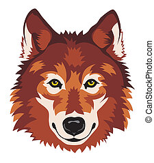 Wolf - Abstract vector illustration of wolf head in front